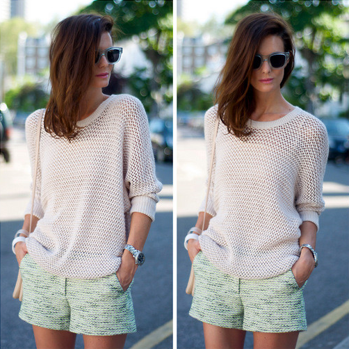 Channel-season-call-sporty-beachy-open-weave-knit-pair-pastel-shortsPhoto-courtesy-Lookbooknu